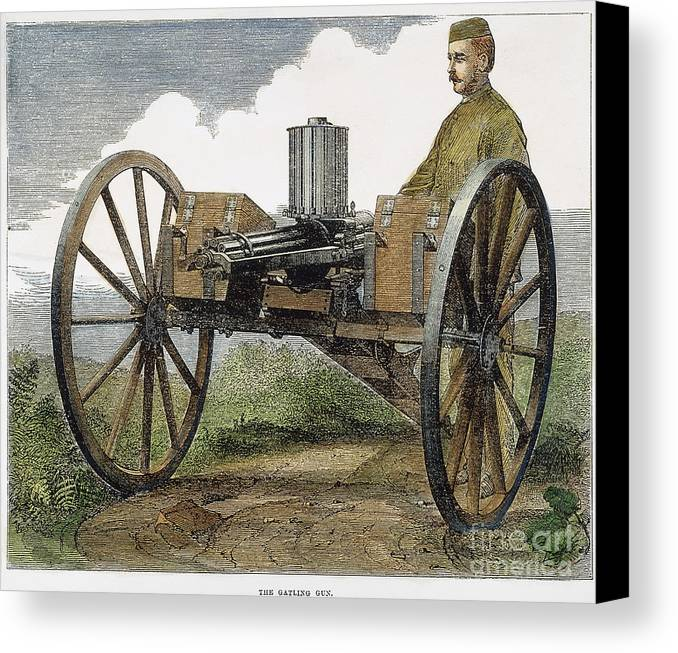 1872 Canvas Print featuring the photograph Gatling Gun, 1872 by Granger