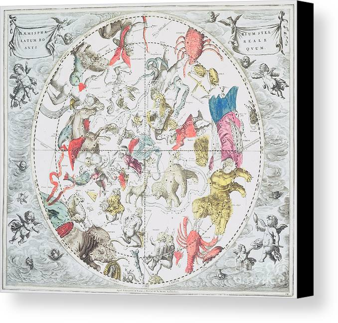 Celestial Planisphere Showing The Signs Of The Zodiac Canvas Print featuring the drawing Celestial Planisphere Showing The Signs Of The Zodiac by Andreas Cellarius