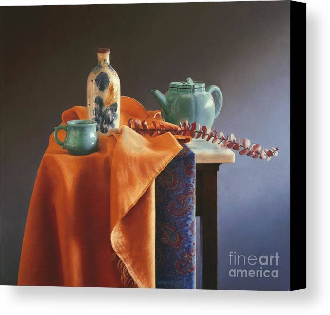 Still Life Canvas Print featuring the painting Glazed With Light by Barbara Groff
