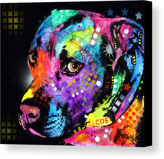 Pit Bull Canvas Print featuring the painting Gratitude Pitbull by Dean Russo