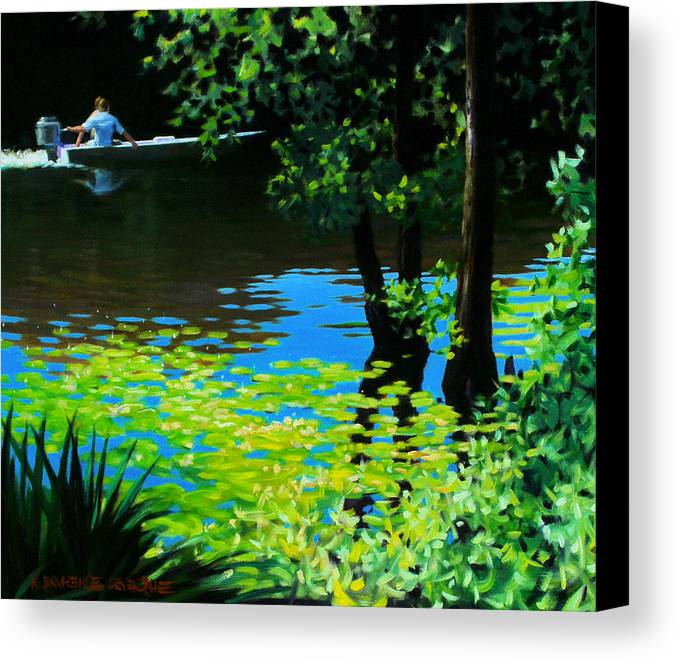 Calcasieu River Canvas Print featuring the painting On The Calcasieu by Kevin Lawrence Leveque