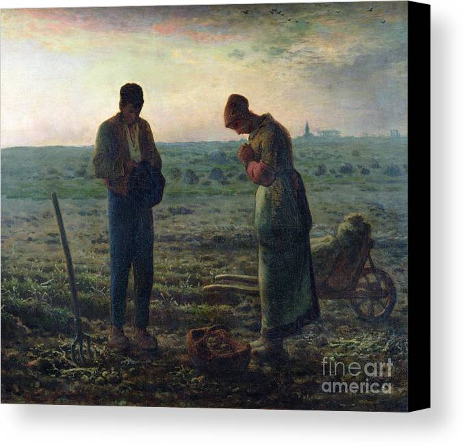 The Canvas Print featuring the painting The Angelus by Jean-Francois Millet