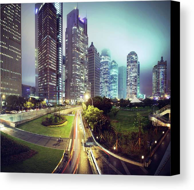 Horizontal Canvas Print featuring the photograph Night Fog Over Shanghai Cityscape by Blackstation