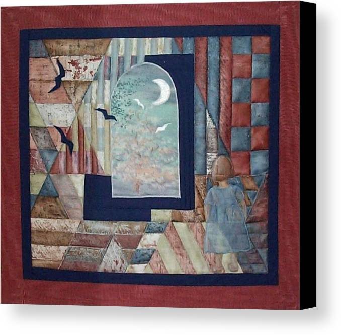 Collage Canvas Print featuring the tapestry - textile There Is A Place... by Gun Legler