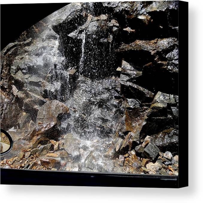 Melting Snow Photograph Canvas Print featuring the photograph Window Waterfall by Dan Sproul