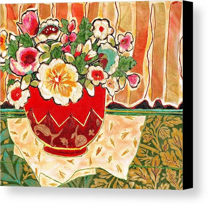 Still Life Canvas Print featuring the mixed media Bowl And Blossoms by Diane Fine