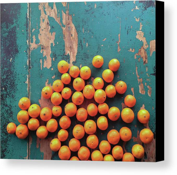 Horizontal Canvas Print featuring the photograph Scattered Tangerines by Sarah Palmer