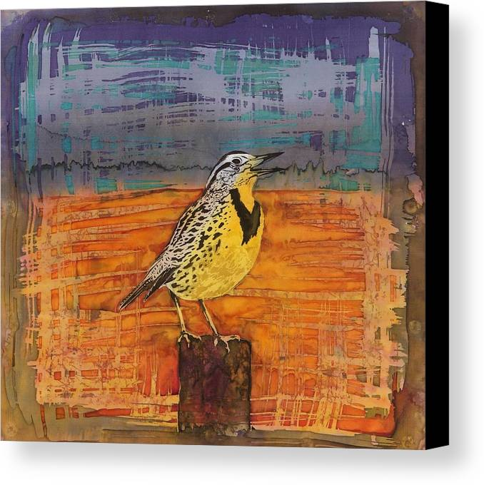 Songbird Canvas Print featuring the tapestry - textile Meadows Song by Carolyn Doe