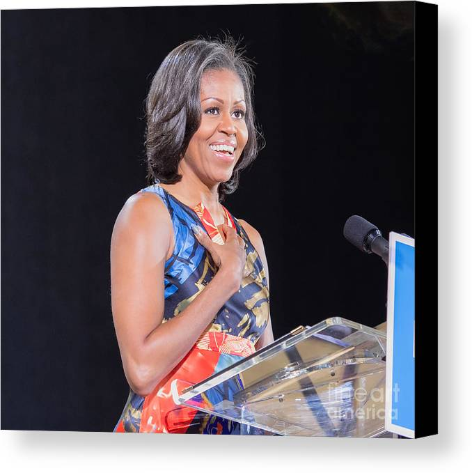 Michelle Obama Canvas Print featuring the photograph Political Ralley by Ava Reaves