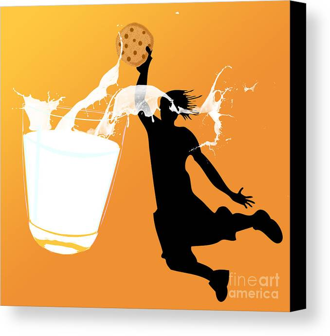 Digita Art Canvas Print featuring the digital art I Can Dunk by Laura Brightwood