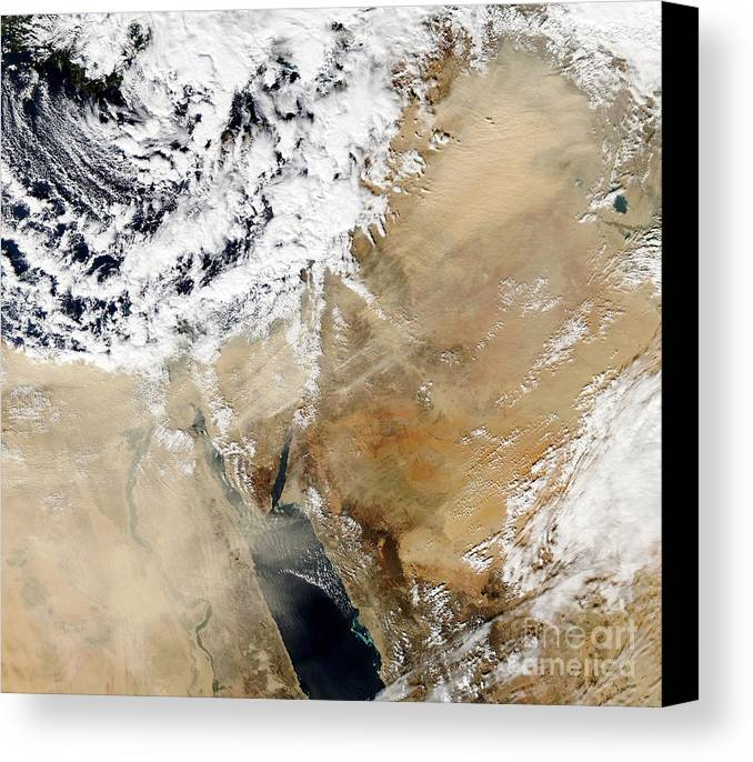 Cloud Canvas Print featuring the photograph Satellite View Of The Eastern by Stocktrek Images