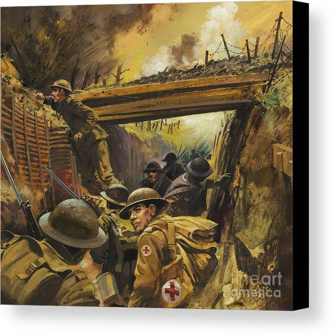 Soldier Canvas Print featuring the painting The Trenches by Andrew Howat