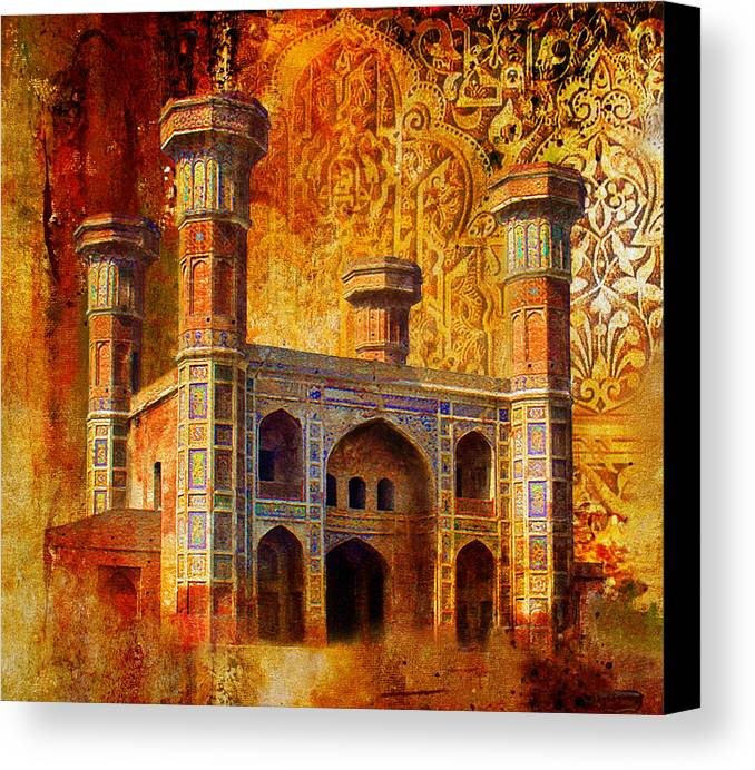 Pakistan Canvas Print featuring the painting Chauburji Gate by Catf