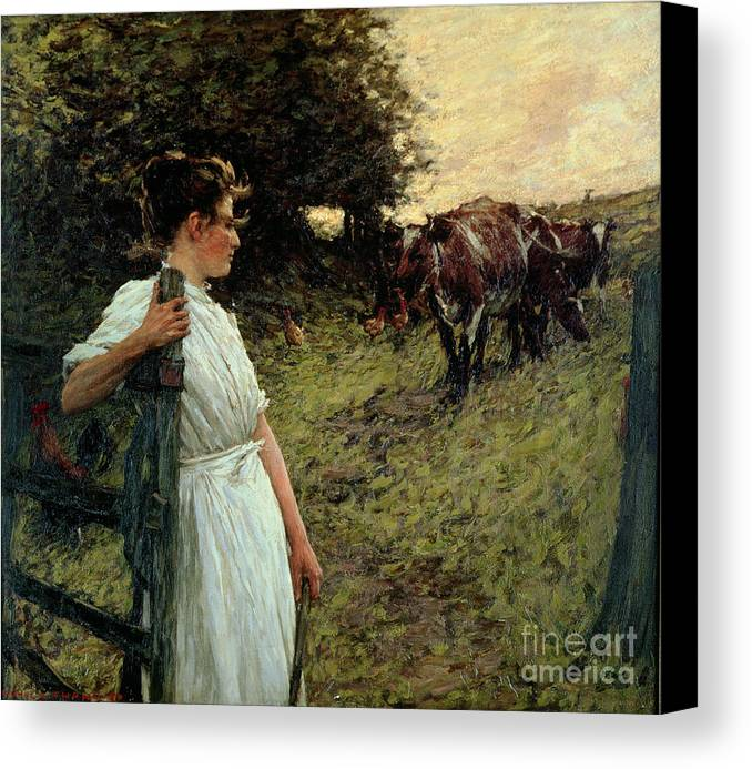 The Canvas Print featuring the painting The Farmer's Daughter by Henry Herbert La Thangue