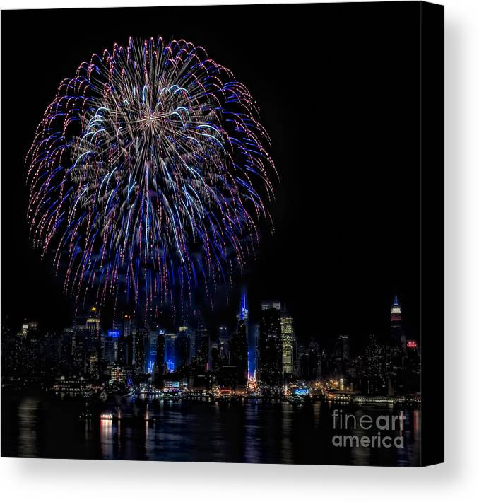 4th Of July Canvas Print featuring the photograph Fireworks In New York City by Susan Candelario