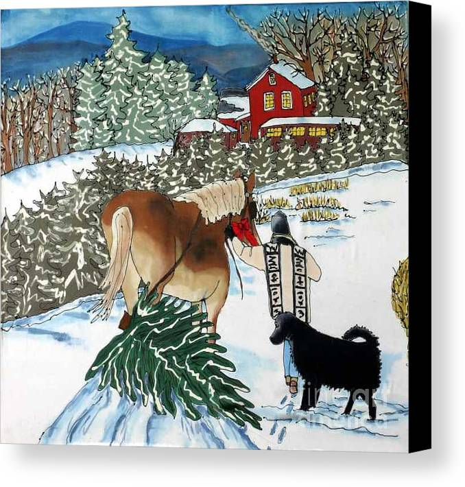 Christmas Canvas Print featuring the painting Bringing Home The Tree by Linda Marcille