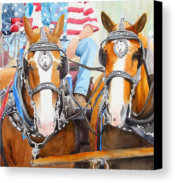Belgian Canvas Print featuring the painting Everybody Loves A Parade by Ally Benbrook