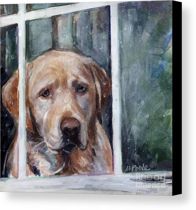 Yellow Dog Canvas Print featuring the painting Homebody by Molly Poole