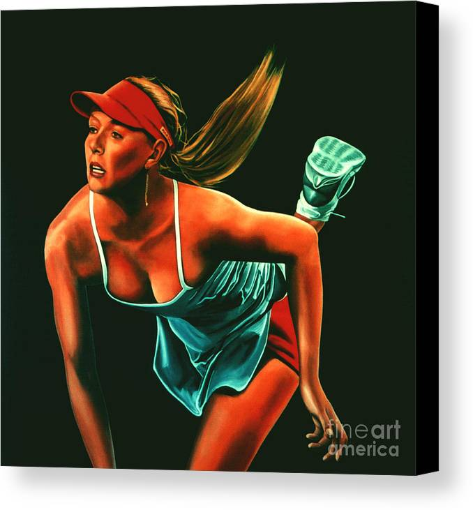 Paul Meijering Canvas Print featuring the painting Maria Sharapova by Paul Meijering