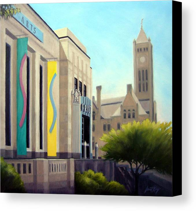 Frist Center For The Visual Arts Canvas Print featuring the painting The Frist Center by Janet King