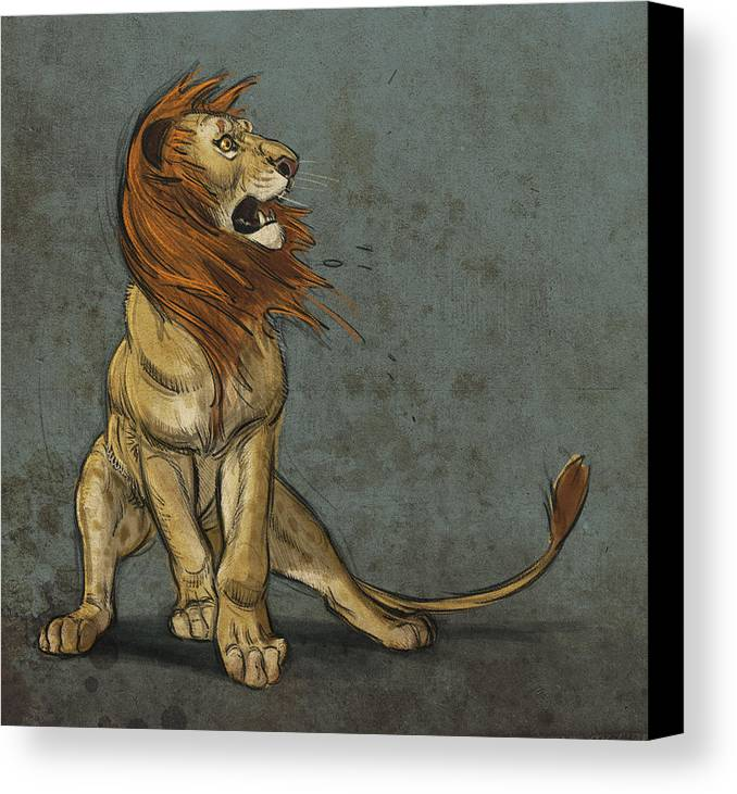 Lion Canvas Print featuring the digital art Threatened by Aaron Blaise
