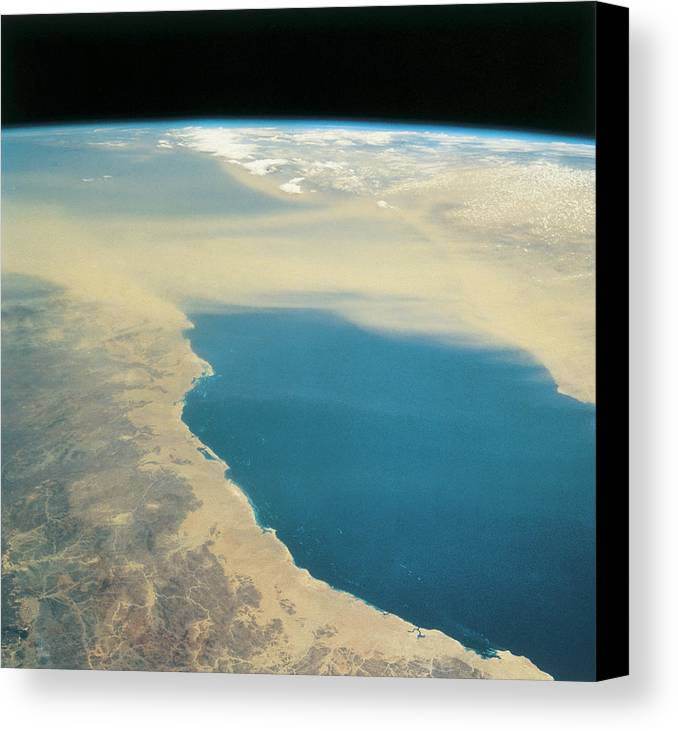 Square Canvas Print featuring the photograph Planet Earth Viewed From Space by Stockbyte