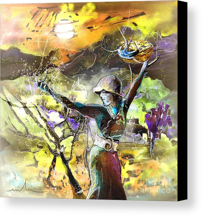 Bible Painting Canvas Print featuring the painting The Parable Of The Sower by Miki De Goodaboom