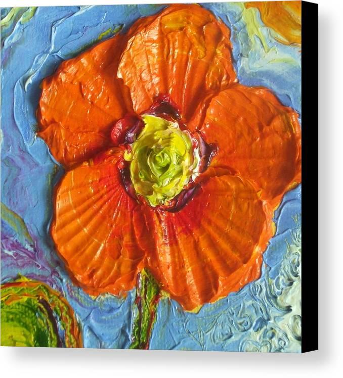 Orange Poppy Painting Canvas Print featuring the painting Orange Poppy II by Paris Wyatt Llanso