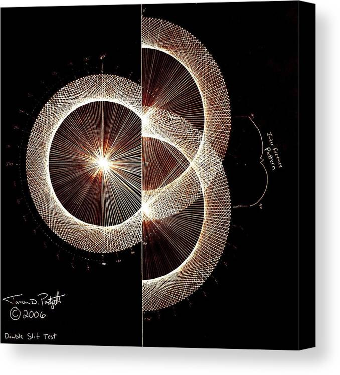 Canvas Print featuring the drawing Photon Double Slit Test Hand Drawn by Jason Padgett
