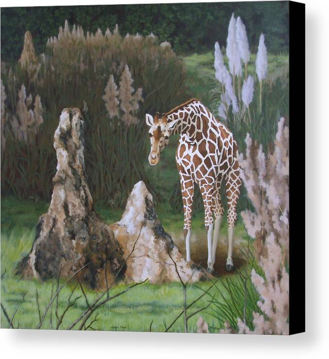 Giraffe Canvas Print featuring the painting The Termite Mounds by Sandra Chase