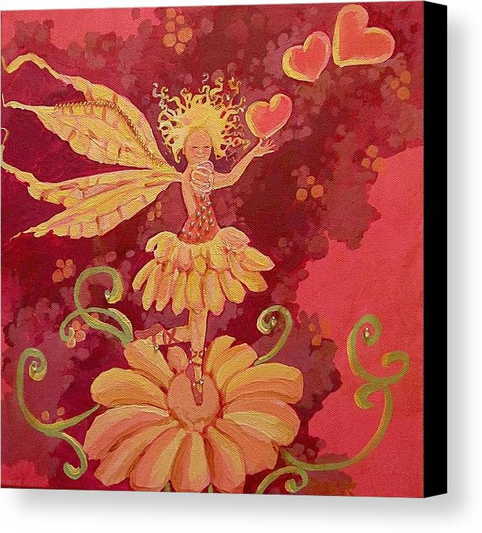 Fairy Hearts Pink Flower Canvas Print featuring the painting Candy 1 by Jackie Rock