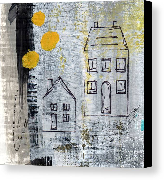 Abstract Canvas Print featuring the painting On The Same Street by Linda Woods