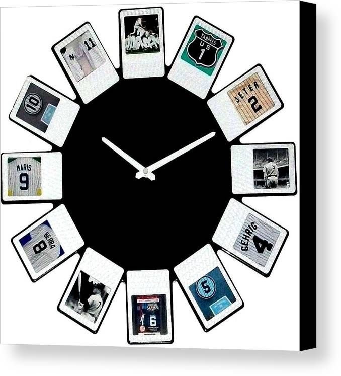 New York Canvas Print featuring the sculpture yankees Clock by Paul Van Scott