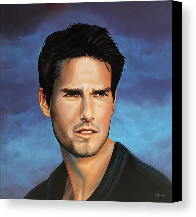 Tom Cruise Canvas Print featuring the painting Tom Cruise by Paul Meijering