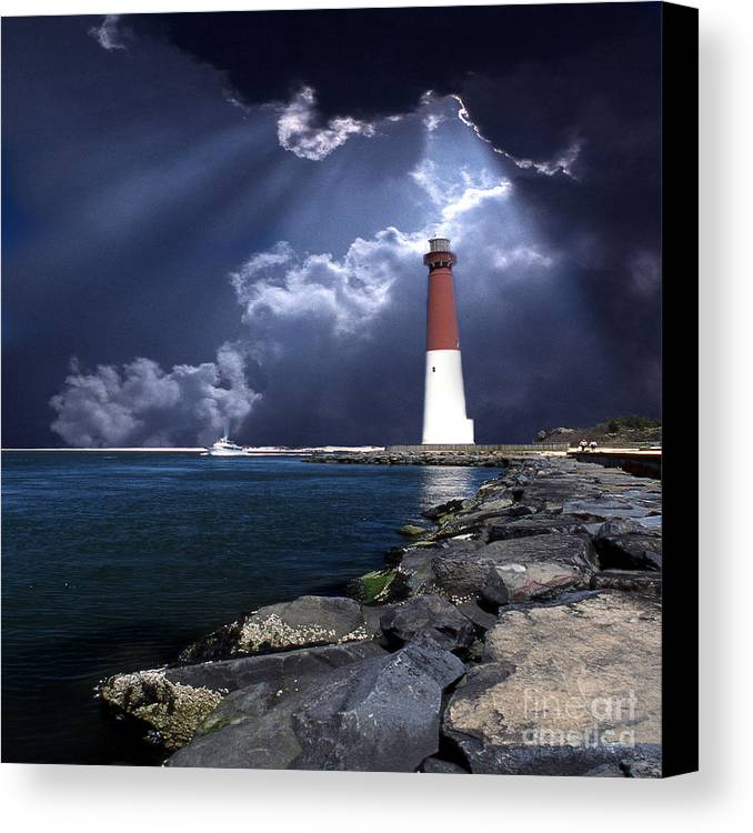 Lighthouses Canvas Print featuring the photograph Barnegat Inlet Lighthouse Nj by Skip Willits