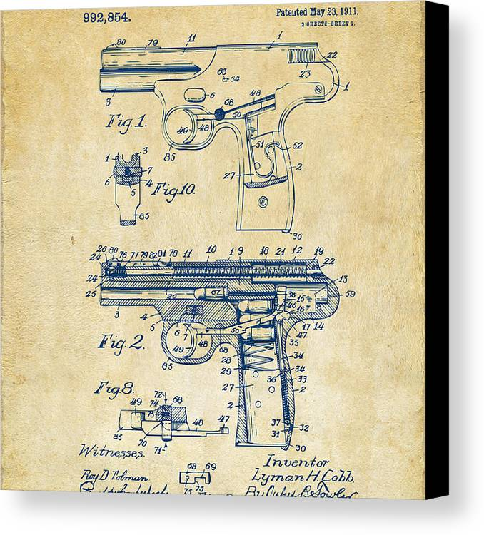 Police Gun Canvas Print featuring the photograph 1911 Automatic Firearm Patent Artwork - Vintage by Nikki Marie Smith