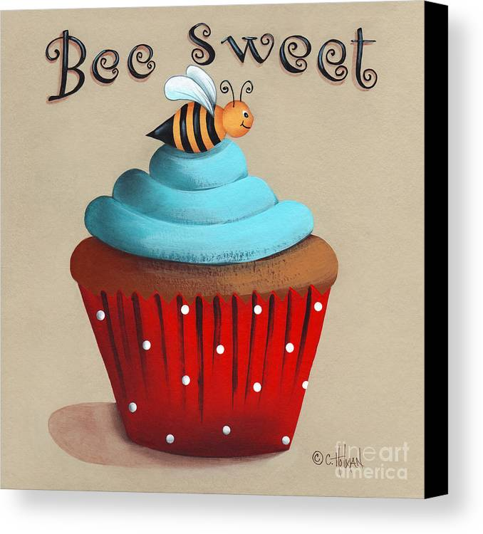 Art Canvas Print featuring the painting Bee Sweet Cupcake by Catherine Holman
