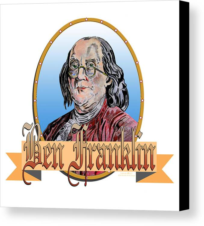 Ben Franklin Canvas Print featuring the drawing Ben Franklin by John Keaton
