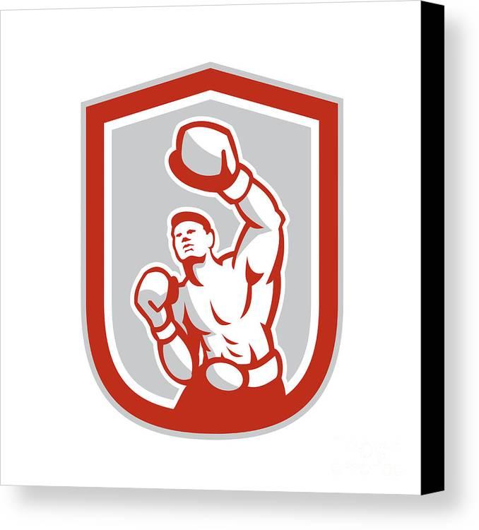 Boxer Canvas Print featuring the digital art Boxer Boxing Punching Jabbing Circle Retro by Aloysius Patrimonio