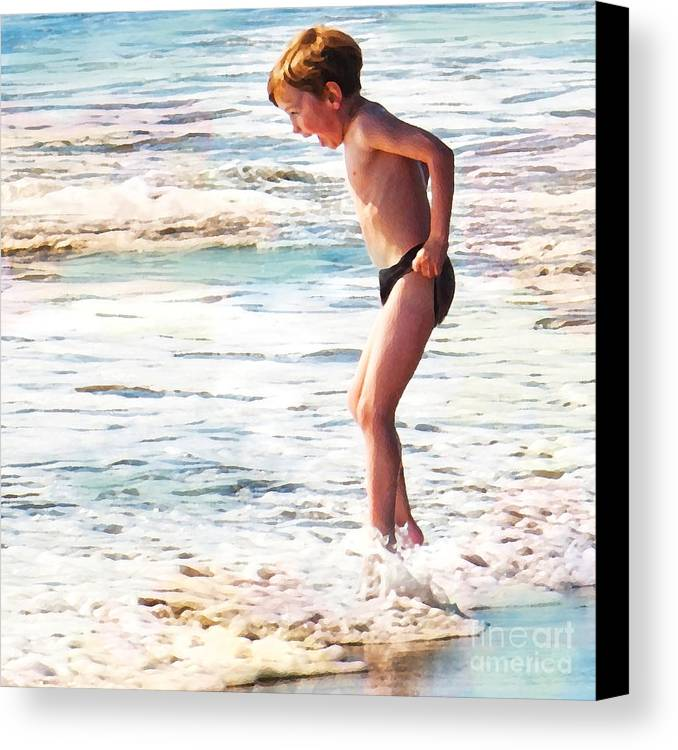 Boy In The Ocean Canvas Print featuring the digital art Courage by Artist and Photographer Laura Wrede