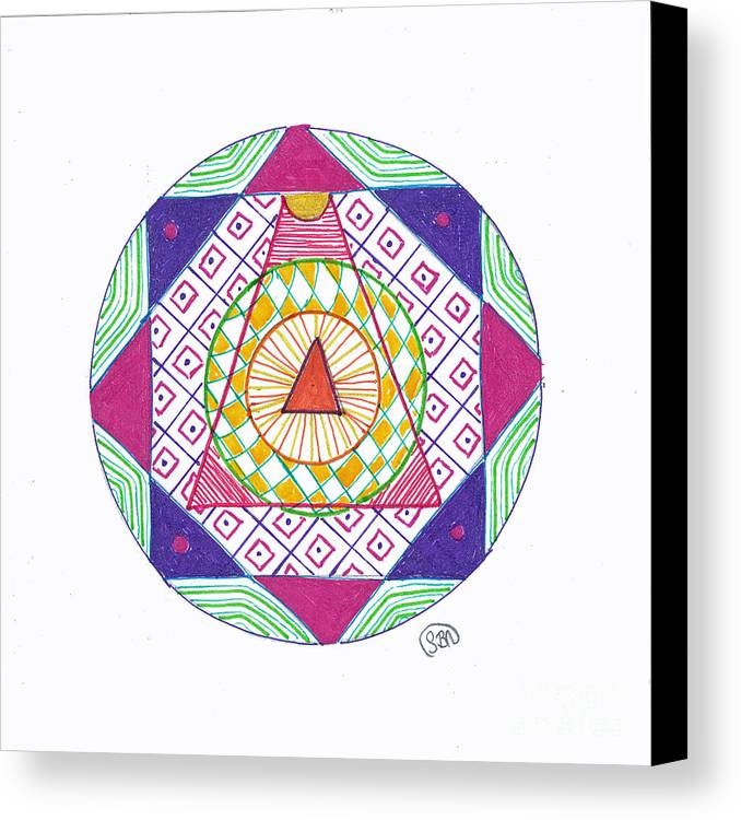 Mandala Canvas Print featuring the drawing Destination by Signe Beatrice
