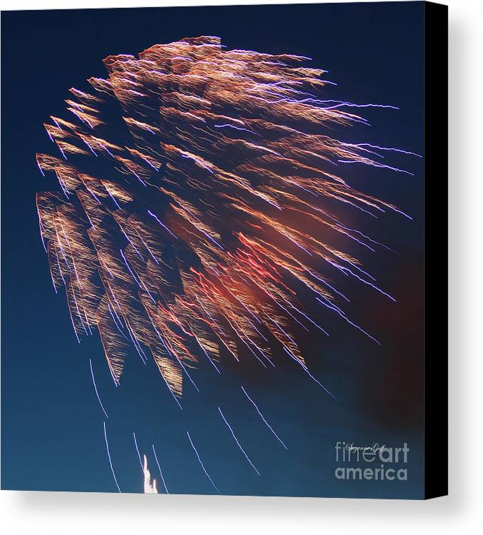 July Canvas Print featuring the photograph Fireworks Series I by Suzanne Gaff