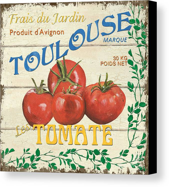 Tomatoes Canvas Print featuring the painting French Veggie Sign 3 by Debbie DeWitt
