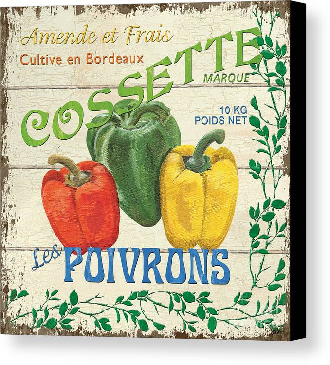 Peppers Canvas Print featuring the painting French Veggie Sign 4 by Debbie DeWitt