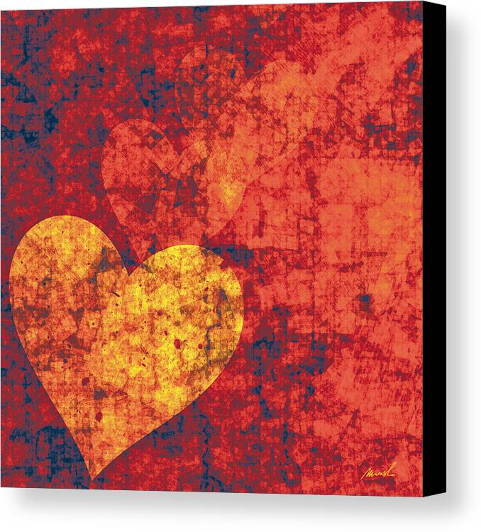 Hearts Canvas Print featuring the painting Graffiti Hearts by The Art of Marsha Charlebois
