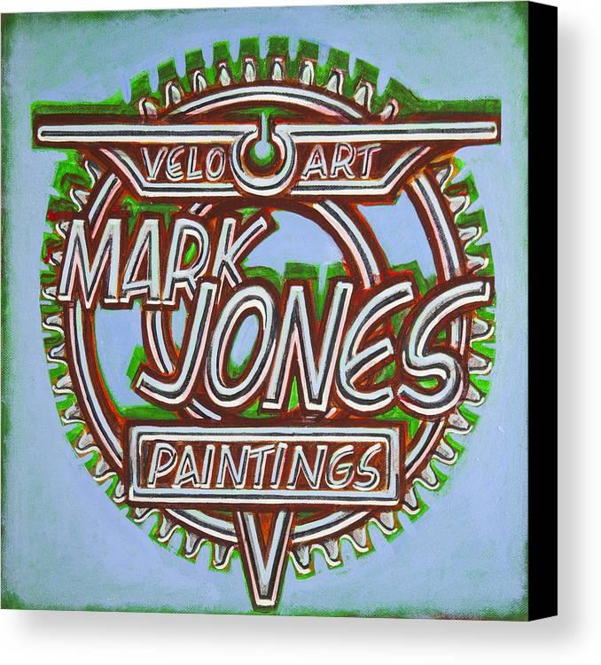 Sign Canvas Print featuring the painting Mark Jones Velo Art Painting Blue by Mark Howard Jones