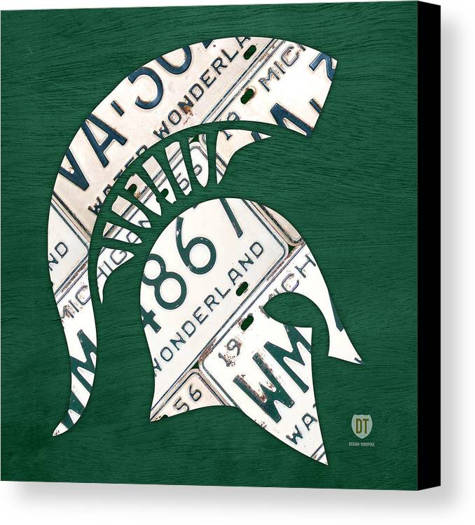 Michigan Canvas Print featuring the mixed media Michigan State Spartans Sports Retro Logo License Plate Fan Art by Design Turnpike
