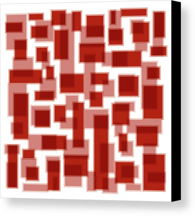 Red Canvas Print featuring the painting Red Abstract Patches by Frank Tschakert