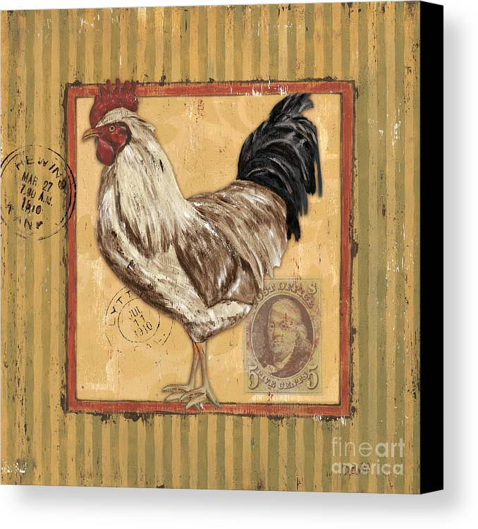 Rooster Canvas Print featuring the painting Rooster And Stripes by Debbie DeWitt