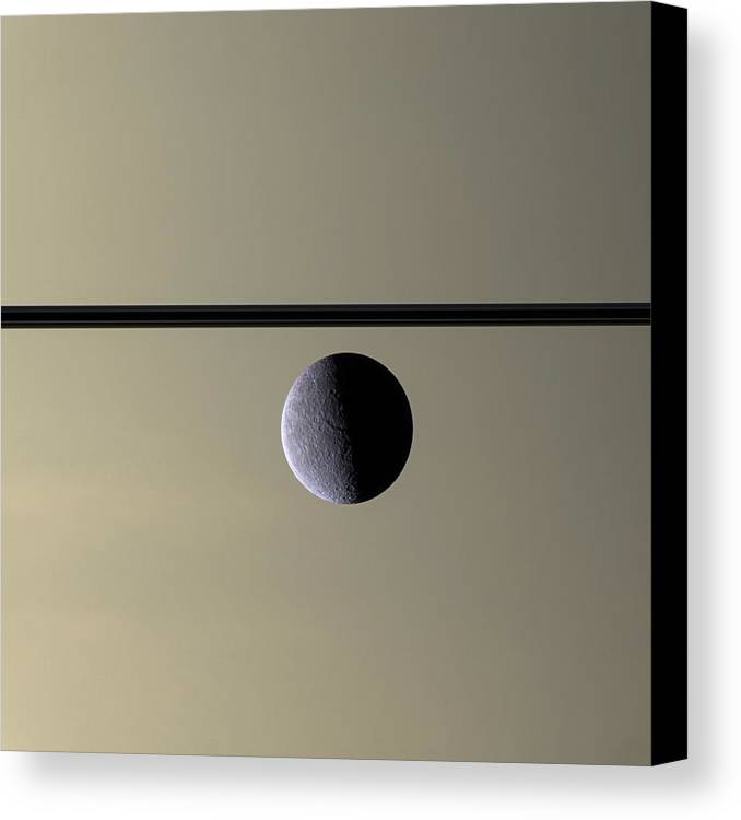 3scape Photos Canvas Print featuring the photograph Saturn Rhea Contemporary Abstract by Adam Romanowicz